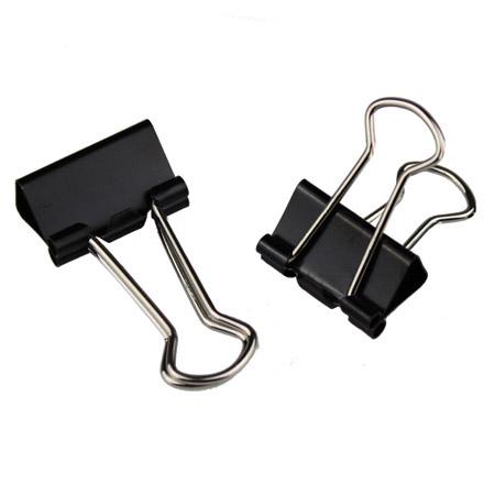 Metal Black Foldback Clips - 19mm
