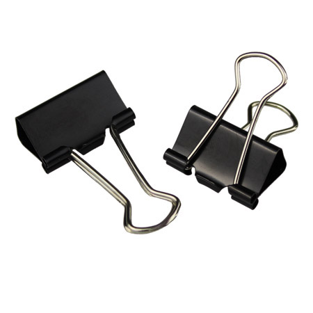 Metal Black Foldback Clips - 25mm