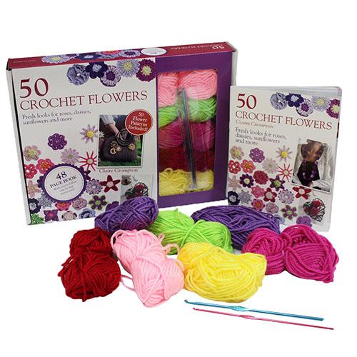 50 Crochet Flowers Book Kit
